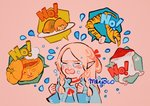 ! 1girl artist_name blush braid closed_eyes commentary cropped_torso crying dungeon_meshi english_text food hands_up long_hair long_sleeves marcille meyoco mushroom no open_mouth pink_background pink_hair plate pointy_ears pumpkin simple_background solo speech_bubble spoken_food tears twin_braids upper_body