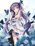 3girls armlet bangs bug butterfly closed_mouth dress euryale eyebrows_visible_through_hair fate/grand_order fate/hollow_ataraxia fate_(series) flower hairband headdress hirai_yuzuki insect lolita_hairband long_hair multiple_girls purple_eyes purple_hair rain rider rose smile solo_focus stheno strapless strapless_dress twintails water white_dress white_flower white_rose