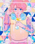 1girl artist_name blue_eyes blush cup drawstring drinking_straw glasses highres hood hood_down hoodie looking_at_viewer meyoco midriff_peek navel original pants pink_hair pink_pants print_cup short_hair sky_print solo sparkle transparent triangle upper_body watch wristwatch
