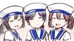 3girls black_hair brown_hair closed_eyes commentary_request cosplay daitou_(kantai_collection) dress hat hiburi_(kantai_collection) hiburi_(kantai_collection)_(cosplay) kantai_collection kirigaku multiple_girls open_mouth ponytail ryuujou_(kantai_collection) sailor_dress sailor_hat short_hair sidelocks smile twintails upper_body