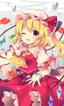 1girl ;d absurdres air_bubble ascot blonde_hair blush bow bubble commentary crystal eyebrows_visible_through_hair fish flandre_scarlet frilled_shirt_collar frills goldfish hand_up hat hat_ribbon highres looking_at_viewer mob_cap one_eye_closed one_side_up open_mouth petticoat pointing pointing_at_self puffy_short_sleeves puffy_sleeves red_bow red_eyes red_ribbon red_skirt red_vest ribbon ruhika short_hair short_sleeves skirt smile solo touhou underwater vest white_hat wings wrist_cuffs yellow_neckwear