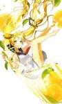 1girl barefoot blonde_hair cup dress falling floating_hair food fruit hatsune_miku highres ice ice_cube in_container in_cup leaf long_hair minigirl sailor_dress sogawa solo twintails very_long_hair vocaloid white_background yellow_eyes
