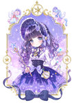 1girl bonnet bow commentary_request compass curly_hair dress flower frame hat hat_bow hat_flower highres lolita_fashion long_sleeves looking_at_viewer original purple_eyes purple_hair shiori_(xxxsi) smile solo underbust unicorn wand