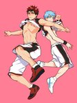2boys abs bandaid bandaids_on_nipples basketball_uniform blue_eyes blue_hair blush closed_mouth embarrassed full_body jersey k29 kagami_taiga kuroko_no_basuke kuroko_tetsuya looking_at_viewer male_focus multiple_boys pasties pink_background red_eyes red_hair shirt_lift shoes shorts simple_background sleeveless sneakers sportswear toned toned_male