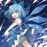 1girl :d bangs bloomers blue_bow blue_dress blue_eyes blue_hair blush bow cirno commentary_request cowboy_shot dress fang hair_between_eyes hair_bow ice ice_wings looking_at_viewer neck_ribbon official_art open_mouth red_neckwear ribbon short_hair short_sleeves sidelocks smile solo standing taranbo touhou underwear wings