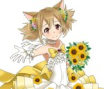 1girl animal_ears bouquet bow brown_hair cat_ears choker collarbone dress flat_chest flower gloves hair_bow hair_flower hair_ornament holding holding_bouquet long_hair looking_at_viewer outstretched_arm pink_flower red_eyes ribbon ribbon_choker short_twintails silica silica_(sao-alo) sleeveless sleeveless_dress smile solo standing strapless strapless_dress sunflower sword_art_online transparent_background twintails white_dress white_gloves white_ribbon yellow_flower
