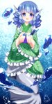 1girl absurdres blue_eyes blue_hair bubble butterfly_print chako_(chakoxxx) drill_hair floral_print gradient gradient_background head_fins highres japanese_clothes kimono looking_at_viewer mermaid monster_girl obi open_hands open_mouth sash short_hair short_kimono solo touhou underwater unmoving_pattern wakasagihime