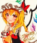 1girl :d ascot bangs blonde_hair blush bow eyebrows_visible_through_hair flandre_scarlet hat hat_bow long_hair looking_at_viewer mob_cap open_mouth puffy_short_sleeves puffy_sleeves qqqrinkappp red_bow red_eyes shikishi short_sleeves side_ponytail signature simple_background smile solo touhou traditional_media upper_body white_hat