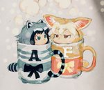 2girls animal_ears black_bow black_hair blonde_hair bow common_raccoon_(kemono_friends) cup eyebrows_visible_through_hair fennec_(kemono_friends) fox_ears fox_tail grey_hair in_container in_cup kemono_friends mug multicolored_hair multiple_girls raccoon_ears raccoon_tail short_hair tail user_uuha4544 yellow_bow