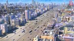 arsenixc bridge building bus car city cityscape commentary dome english_commentary factory game_cg ground_vehicle highres monorail motor_vehicle official_art original road scenery shinning_nikki sky steam street train truck van wallpaper