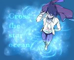1boy blue blue_background blue_sky closed_eyes danganronpa dress_shirt facial_hair goatee holstein_kurita jacket_on_shoulders male_focus momota_kaito new_danganronpa_v3 pants purple_eyes purple_hair school_uniform shirt sky slippers smile space space_print spiked_hair standing standing_on_liquid starry_sky_print wading walking walking_on_liquid water