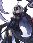 1girl absurdres ahoge arm_up armor armored_dress banner black_dress black_legwear breasts dress eyebrows_visible_through_hair fate/grand_order fate_(series) faulds gauntlets highres holding jeanne_d'arc_(alter)_(fate) jeanne_d'arc_(fate)_(all) large_breasts looking_at_viewer parted_lips sheath sheathed short_hair silver_hair simple_background slaon55 solo standing sword thighhighs weapon white_background yellow_eyes