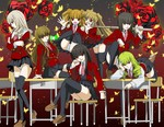 6+girls adapted_costume asmodeus beelzebub belphegor black_hair blonde_hair brown_hair bug butterfly chair desk drill_hair flower green_hair highres insect k.m leviathan_(umineko) lucifer mammon multiple_girls necktie open_mouth panties pantyshot pink_neckwear red_eyes rose satan school_uniform sitting smile stakes_of_purgatory sword twin_drills twintails umineko_no_naku_koro_ni underwear weapon white_hair wooden_sword