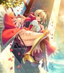 1girl ahoge bangs blonde_hair boots braid breasts commentary day dress epaulettes eyebrows_visible_through_hair fate/extra fate/grand_order fate_(series) french_braid from_below gold_footwear greaves green_eyes hair_bun hair_intakes hand_on_own_chest high_heel_boots high_heels highres juliet_sleeves kanekiyo_miwa knee_boots large_breasts long_sleeves looking_at_viewer looking_down medium_dress nero_claudius_(fate) nero_claudius_(fate)_(all) open_mouth panties petals plant puffy_sleeves red_dress short_hair sitting smile solo sunlight thighs underwear white_panties window