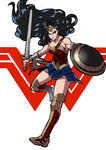 1girl bare_shoulders black_hair bustier dc_comics forehead_protector full_body greaves highres lasso lips long_hair makai pauldrons serious shield skirt solo superhero sword vambraces very_long_hair weapon wonder_woman wonder_woman_(series)