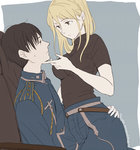 1boy 1girl black_hair blonde_hair brown_eyes fullmetal_alchemist hetero jaga_rico long_hair military military_uniform riza_hawkeye roy_mustang short_hair uniform