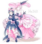 2girls alternate_color bare_shoulders black_dress black_gloves black_hair black_shoes blonde_hair bow breasts cleavage cofagrigus crossed_arms dress elbow_gloves faceless faceless_female frilled_dress frills full_body gloves hair_bow hat hat_feather kuro_guren lipstick makeup multiple_girls personification pink_bow pink_dress pink_hat pink_legwear pointy_ears pokemon red_eyes shoes standing transparent_background white_skin