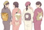4girls animal_print arm_at_side arms_behind_back bangs bob_cut brown_hair brown_headwear bunny_print camera cowboy_shot eye_contact finger_to_chin from_behind grey_kimono hat hedgehog japanese_clothes kimono light_smile looking_at_another medium_hair multiple_girls munakata_(hisahige) obi original own_hands_together pig_print pink_headwear pink_kimono ponytail profile red_kimono sash sheep_print simple_background white_background white_kimono