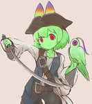 alternate_costume animal_ears baggy_clothes belt bird cerulean_(kemono_friends) cerval commentary_request cowboy_shot cutlass_(sword) ears_through_headwear green_hair green_skin hat highres kemono_friends long_sleeves parrot pirate_costume pirate_hat pirates_of_the_caribbean red_eyes serval_ears short_hair suginakara_(user_ehfp8355 weapon