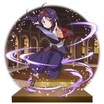 1girl ahoge artist_request boots brown_footwear floating_hair hairband hakama highres holding holding_sword holding_weapon jacket japanese_clothes leg_up long_hair long_sleeves looking_at_viewer official_art pointy_ears purple_hair purple_hakama purple_jacket red_eyes red_hairband solo sword sword_art_online transparent_background very_long_hair weapon yuuki_(sao)