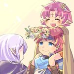 1boy 2girls blue_eyes cape carrying closed_eyes closed_mouth commentary_request fa facial_mark fire_emblem fire_emblem:_fuuin_no_tsurugi flower forehead_mark hair_flower hair_ornament headband holding idoun long_hair long_sleeves mamkute multiple_girls open_mouth pinboke32 pointy_ears purple_hair red_hair roy_(fire_emblem) short_hair shoulder_carry simple_background smile wreath