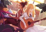 2girls blonde_hair brown_eyes brown_hair carole_&_tuesday carole_(carole_&_tuesday) commentary_request dark_skin earrings guitar highres indoors instrument jewelry keyboard_(instrument) multiple_girls music overalls playing_instrument rannion sleeveless strapless tubetop tuesday_(carole_&_tuesday)