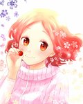 1girl artist_request brown_hair floral_background food fruit highres multicolored multicolored_eyes okumura_haru persona persona_5 pink_sweater red_hair ribbed_sweater short_hair solo sweater