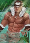 1boy abs absurdres bara brown_hair dark_skin dark_skinned_male earrings facial_hair facial_mark fur_trim hair_between_eyes highres jewelry loincloth looking_at_viewer male_focus multicolored_hair muscle necklace o-ring outdoors pointy_ears samo_nosuke sitting solo tattoo tokyo_houkago_summoners two-tone_hair water white_hair