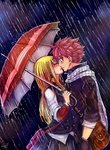 1boy 1girl blonde_hair closed_eyes fairy_tail gloves holding holding_umbrella incipient_kiss leonstar long_hair lucy_heartfilia natsu_dragneel outdoors pink_hair pleated_skirt rain scarf short_hair signature skirt spiked_hair umbrella white_scarf