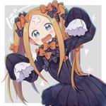 +_+ 1girl :d abigail_williams_(fate/grand_order) alternate_hairstyle bangs black_bow black_dress blonde_hair blue_eyes blush bow bug butterfly crossed_bandaids dress fate/grand_order fate_(series) grey_background hair_bow hands_up insect long_hair long_sleeves looking_at_viewer multiple_bows multiple_hair_bows no_hat no_headwear open_mouth orange_bow parted_bangs polka_dot polka_dot_bow sleeves_past_fingers sleeves_past_wrists smile solo sparkle totatokeke twintails two-tone_background v-shaped_eyebrows very_long_hair white_background