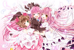 3girls ;d angel angel_wings bottle_(x890264) brown_hair cardcaptor_sakura choker crossover dress feathers frilled_dress frills hair_ornament hair_ribbon happy hug juliet_sleeves kaname_madoka kinomoto_sakura long_hair long_sleeves magical_girl mahou_shoujo_madoka_magica misha_(pita_ten) multiple_girls one_eye_closed open_mouth petticoat pink_choker pink_hair pita_ten puffy_short_sleeves puffy_sleeves ribbon short_sleeves smile teeth trait_connection ultimate_madoka very_long_hair white_wings wings