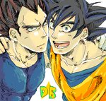 2boys :d black_eyes black_hair close-up copyright_name dougi dragon_ball dragon_ball_z face face-to-face frown gloves hands_on_another's_shoulders happy looking_at_viewer lowres male_focus multiple_boys mutsu_(pongo0062) open_mouth serious short_hair simple_background smile son_gokuu spiked_hair star upper_body vegeta white_background