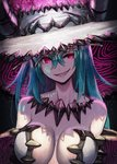 1girl bangs bare_shoulders blue_hair body_markings breasts cape center_opening collarbone commentary_request facial_mark fire grin hair_between_eyes hat head_tilt highres hilda_(kuroi_susumu) horns jewelry kuroi_susumu large_breasts leotard long_hair looking_at_viewer necklace off_shoulder original pink_eyes revealing_clothes sharp_teeth sidelocks smile solo teeth white_headwear white_leotard witch witch_hat