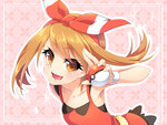 1girl bow bracelet brown_hair hair_bow haruka_(pokemon) holding holding_poke_ball jewelry looking_at_viewer open_mouth poke_ball pokemon pokemon_(game) pokemon_oras solo ueno_tsuki yellow_eyes