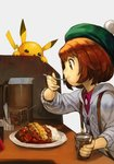 1girl brown_eyes brown_hair eating food green_headwear grey_cardigan hankuri hat pikachu pokemon pokemon_(game) pokemon_swsh short_hair yuuri_(pokemon)