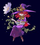 1girl arlmuffin boots bow capelet closed_mouth crescent earrings flower full_body hat jewelry kirisame_marisa kirisame_marisa_(pc-98) long_sleeves pointy_ears purple_skirt red_eyes red_hair shirt short_hair simple_background skirt smile solo touhou touhou_(pc-98) white_shirt witch witch_hat
