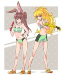 2girls animal_ears baton blonde_hair brown_eyes brown_hair bunny_ears devilman iesupa legs midriff multiple_girls navel ponytail prosthesis prosthetic_arm purple_eyes rwby shoes shorts sneakers tail velvet_scarlatina yang_xiao_long