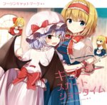4girls alice_margatroid bangs bat_wings black_wings blonde_hair blue_eyes blush bow bowtie capelet closed_eyes closed_mouth commentary_request eyebrows_visible_through_hair hair_bow hairband hat hat_bow holding_hands hourai_doll long_hair looking_at_viewer mob_cap multiple_girls open_mouth pink_headwear pointy_ears purple_hair red_bow red_eyes red_neckwear remilia_scarlet shanghai_doll shinoba short_hair short_sleeves skirt skirt_hold smile touhou white_legwear window wings