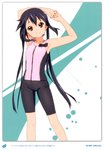1girl 2011 absurdres armpits arms_up bare_shoulders bike_shorts black_hair brown_eyes casual dated errant highres k-on! long_hair nakano_azusa official_style scan signature smile solo stretch twintails