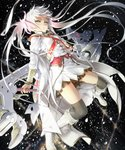 1girl boots breasts green_eyes hair_ribbon happoubi_jin ribbon skirt small_breasts snow solo thighhighs twintails uniform weapon white_hair
