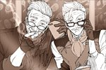 2boys beard commentary_request facial_hair fate/grand_order fate_(series) formal glasses gloves hand_on_eyewear highres james_moriarty_(fate/grand_order) looking_at_viewer male_focus monochrome multiple_boys mustache qsie95 scarf smile smoke smoking vest white_hair william_tell_(fate/grand_order)