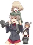 ... 4girls ? blonde_hair blue_eyes boots brown_eyes brown_hair carrying crossed_arms dress_shirt fang garrison_cap girls_und_panzer half-closed_eyes hat hat_removed headwear_removed helmet itsumi_erika jacket katyusha long_hair long_sleeves military military_uniform miniskirt multiple_girls nishizumi_maho nonna open_mouth pleated_skirt red_shirt red_skirt shirt short_hair short_jumpsuit shoulder_carry silver_hair skirt spoken_ellipsis spoken_question_mark standing sweatdrop tabigarasu unamused uniform white_background