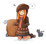 1girl absurdres animal backpack bag bangs black_cat blush boots brown_dress brown_footwear brown_gloves cat commentary_request dress gloves hair_between_eyes highres idaten93 kneeling long_hair long_sleeves nina_alright open_mouth orange_hair original simple_background solo spoken_sweatdrop squiggle sweatdrop translation_request water wet wet_clothes wet_dress wet_gloves white_background
