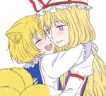 2girls animal_ears blonde_hair bust child fox_ears fox_tail hat hug long_hair multiple_girls no_hat open_mouth purple_eyes short_hair smile tail touhou udon_(shiratama) yakumo_ran yakumo_yukari younger