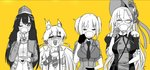 4girls absurdres animal_ears bonnet bow bowtie bren_(girls_frontline) capoki cat_ears commentary_request crying cup drinking girls_frontline glasses gloves hat highres idw_(girls_frontline) jacket l85a1_(girls_frontline) military military_hat military_uniform multiple_girls necktie puffy_sleeves saucer suspenders tea teacup tongue tongue_out uniform welrod_mk2_(girls_frontline)