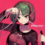 1girl >:) character_name choker cropped_jacket eyebrows_visible_through_hair green_eyes green_hair headphones parted_lips phonon_(under_night_in-birth) pink_background short_hair solo suzunashi under_night_in-birth upper_body whip