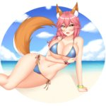 absurdres animal_ears beach beagle bikini blue_bikini blush bracelet breast_hold breasts chechoski cloud collarbone day eyebrows_visible_through_hair fang fate/grand_order fate_(series) fox_ears fox_tail hair_between_eyes hair_over_shoulder highres huge_breasts jewelry long_hair looking_at_viewer low_twintails lying navel on_side open_mouth outdoors outside_border pink_hair side-tie_bikini sky smile star string_bikini swimsuit tail tamamo_(fate)_(all) tamamo_no_mae_(fate) tamamo_no_mae_(swimsuit_lancer)_(fate) thigh_gap twintails wide_hips yellow_eyes