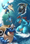 bird blastoise cannon claws empoleon fangs feraligatr fins gen_1_pokemon gen_2_pokemon gen_3_pokemon gen_4_pokemon gen_5_pokemon horn kuroi-tsuki no_humans ocean pokemon pokemon_(creature) samurott spikes surfing swampert swimming tail turtle water waves