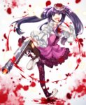 1girl :d blood blood_from_mouth bloody_clothes blue_eyes blue_hair choker dawn_of_the_golden_witch dress floral_print flower furudo_erika gun hair_flower hair_ornament hand_on_own_chest highres mary_janes open_mouth pantyhose petals ponita print_legwear rose sawed-off_shotgun shoes shotgun smile twintails umineko_no_naku_koro_ni v-shaped_eyebrows weapon wide_sleeves