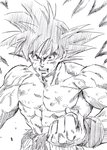 1boy abs black_eyes black_hair clenched_hand commentary_request dirty dirty_clothes dirty_face dragon_ball dragon_ball_z fighting_stance fingernails frown highres lee_(dragon_garou) looking_at_viewer male_focus monochrome muscle nipples open_mouth shirt shirtless son_gokuu spiked_hair teeth torn_clothes torn_shirt upper_body veins wristband